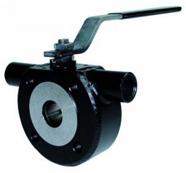 Válvula esfera paso total 1 pieza con cámara de calefacción montaje entre bridas PN 16. Wafer. Ref. 2115