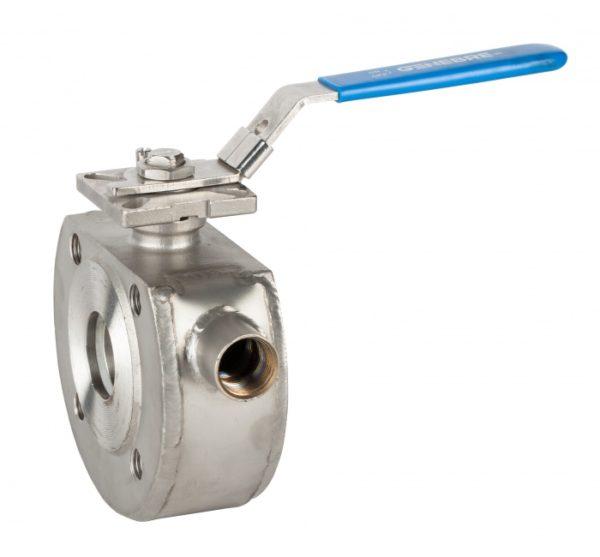 Válvula esfera Paso Total 1 pieza con cámara de calefacción. Montaje entre bridas PN 16. Wafer. Ref. 2119