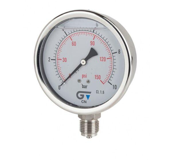 Manómetro Ø100 con glicerina, salida inferior, rosca BSP. Ref. 3824