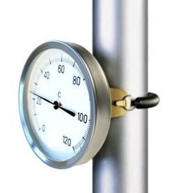Termómetro bimetálico para tuberías (contacto posterior). Ref. 8031